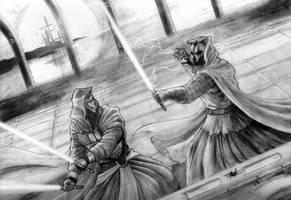 Darth Revan vs Darth Nihilus by clarkspark
