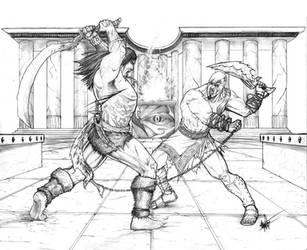 Conan vs Kratos by clarkspark