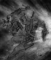 Deathstroke vs Deadpool by clarkspark