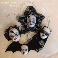 Gothic Doll Head Ornaments  by uglyshyla