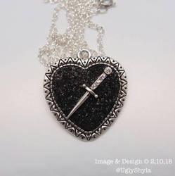 Black Heart And Dagger Necklace by Ugly Shyla by uglyshyla