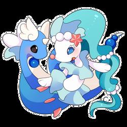 COMMISSION: Chibi Primarina and Dragonair by SeviYummy