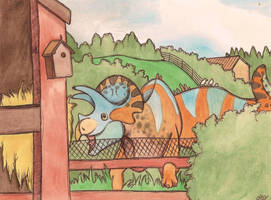 triceratops enclosure by halfpennyro04