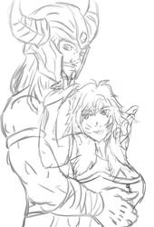 Tryndamere and ahri sketch by 123nukume