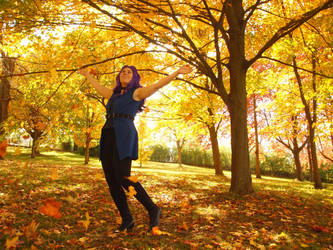 Frolicking in fall by WhimsicalSquidCo