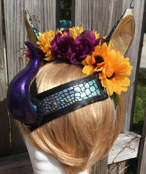 Purple Kirin floral headpiece  by KatWithKnives