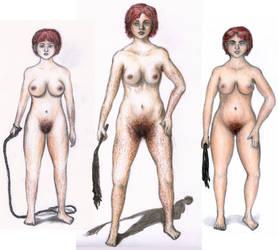 Kim (OC) - three old versions - hairy nudes by punkandartStJimmy