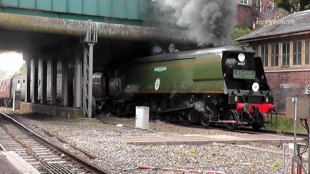 Sr 34067 Tangmere At Exeter Central By The Transport Guild On