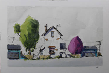 Line and wash doodle street building,watercolor by NilRochaArt