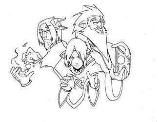Aozora Magic men trio by Erikonil