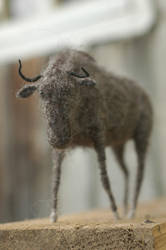 needle felted gnu by vriad-lee