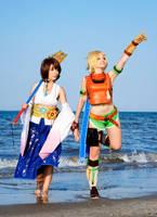 Yuna and Rikku cosplay by KICKAcosplay