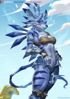 Weregarurumon Female by playfurry