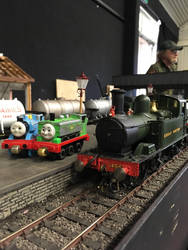 Thomas, Duck and 1450 at Howarth Junction layout by Ryansmither1