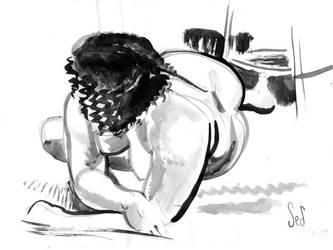 Ink Drawing of Model by Jebriodo