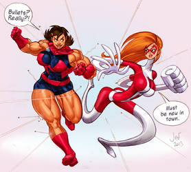Ms. Muscle and Elastiwoman: color sketch by Jebriodo