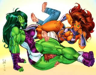 She-Hulk Starfire doubleteamup by Jebriodo