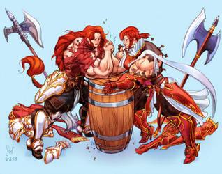 Titania vs Minerva Armwrestle color sketch by Jebriodo