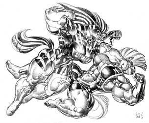 Hellstorm vs Tempered pencil sketch by Jebriodo