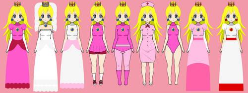 Princess Peach's Outfits by roseprincessmitia