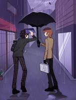 forgot his umbrella by meivix