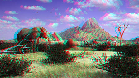 Wildlife scene by 3D-Stereoimage