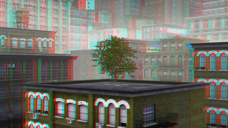 City by 3D-Stereoimage