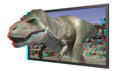 T-Rex get out of a 3D-TV by 3D-Stereoimage