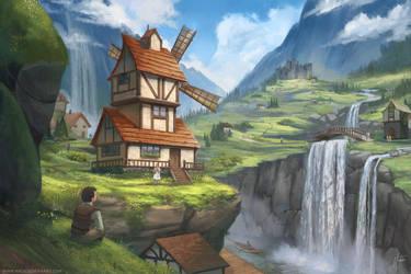 Waterfall Village by nataliebernard