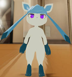 Purple Eyed Glaceon with white sclera by fraserod