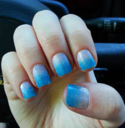 Pink to Blue Ombre Nail Art by Rebecca-Petro