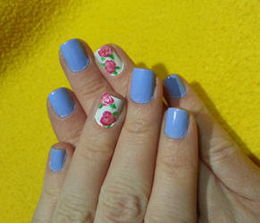Baby Blue with Pink Flower Accent Nail Art by Rebecca-Petro