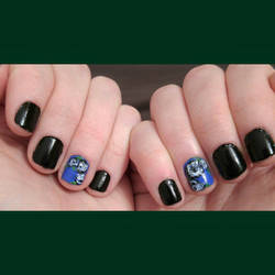 Black and White Roses on Blue Nail Art by Rebecca-Petro