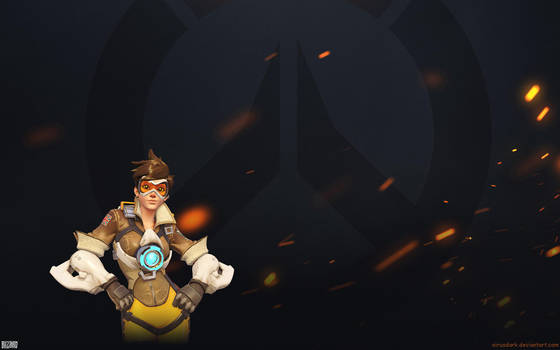 Overwatch Fire Wallpaper 1920x1200 - Tracer by Sirusdark