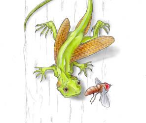 Flying dragon and its prey by Eurwentala