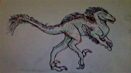 Utahraptor Pen-Drawing by MegaboltPhoenix