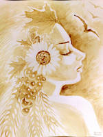Demeter's portrait painted with coffee by CORinAZONe