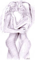 Lesbian kiss by CORinAZONe