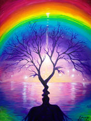 The tree of the kiss under the rainbow of love pai by CORinAZONe