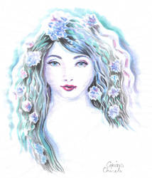 Violet haired lady watercolor painting by CORinAZONe