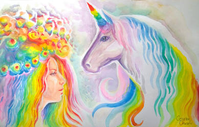 Rainbow haired girl and unicorn watercolor paintin by CORinAZONe