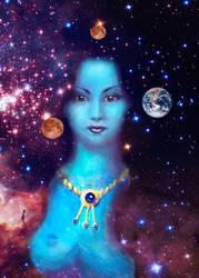 The universe in her dark hair by CORinAZONe