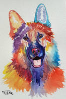 watercolor dog by Eif-ka