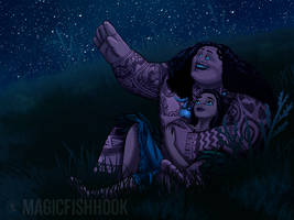 Moana and Maui stargazing! (request) by MagicFishHook