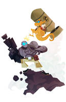 Atomic Robo vs Dr. Dinosaur by Tigerhawk01