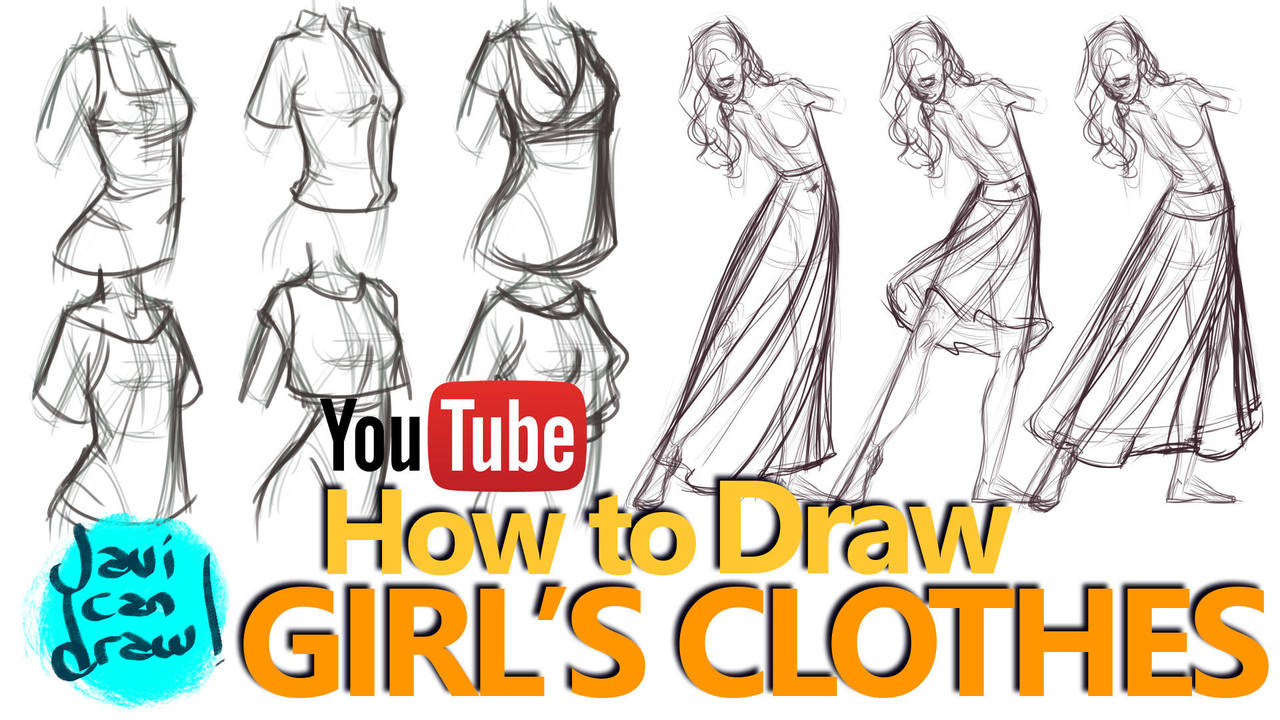HOW TO DRAW FEMALE CLOTHES - A YouTube Tutorial by javicandraw