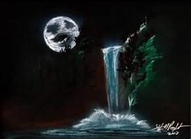 MoonandWaterfall by tbonematrix