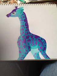 Teal giraffe by tigerstar44
