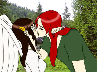 Ariell and Valkyria -Surprise kiss by AriellValkyria