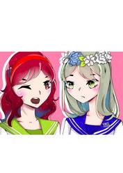 AT: Greentea-chan and Narumi by Aswad-Kuro